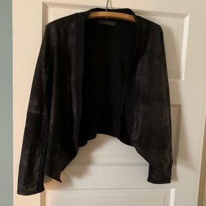 Casual Faux Leather/Jersey Blazer